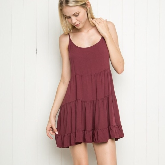 cc31dd9ca88 Brandy Melville Dresses   Skirts - Brandy Melville Maroon Backless Ruffle Jada  Dress